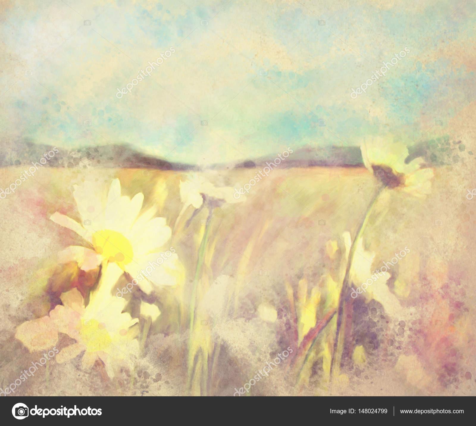Watercolor Landscape Spring Flower Background Illustration