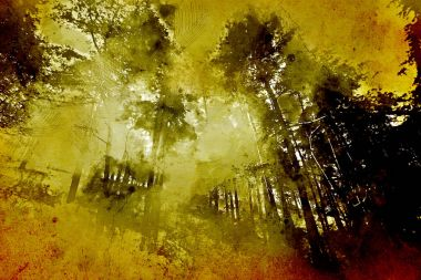 Mysterious forest, with a vintage/painting effect, watercolor abstract grunge paint