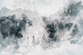 abstraktes Kunstwerk, das einen dunklen Wald mit Birken zeigt. Gemischte Medien