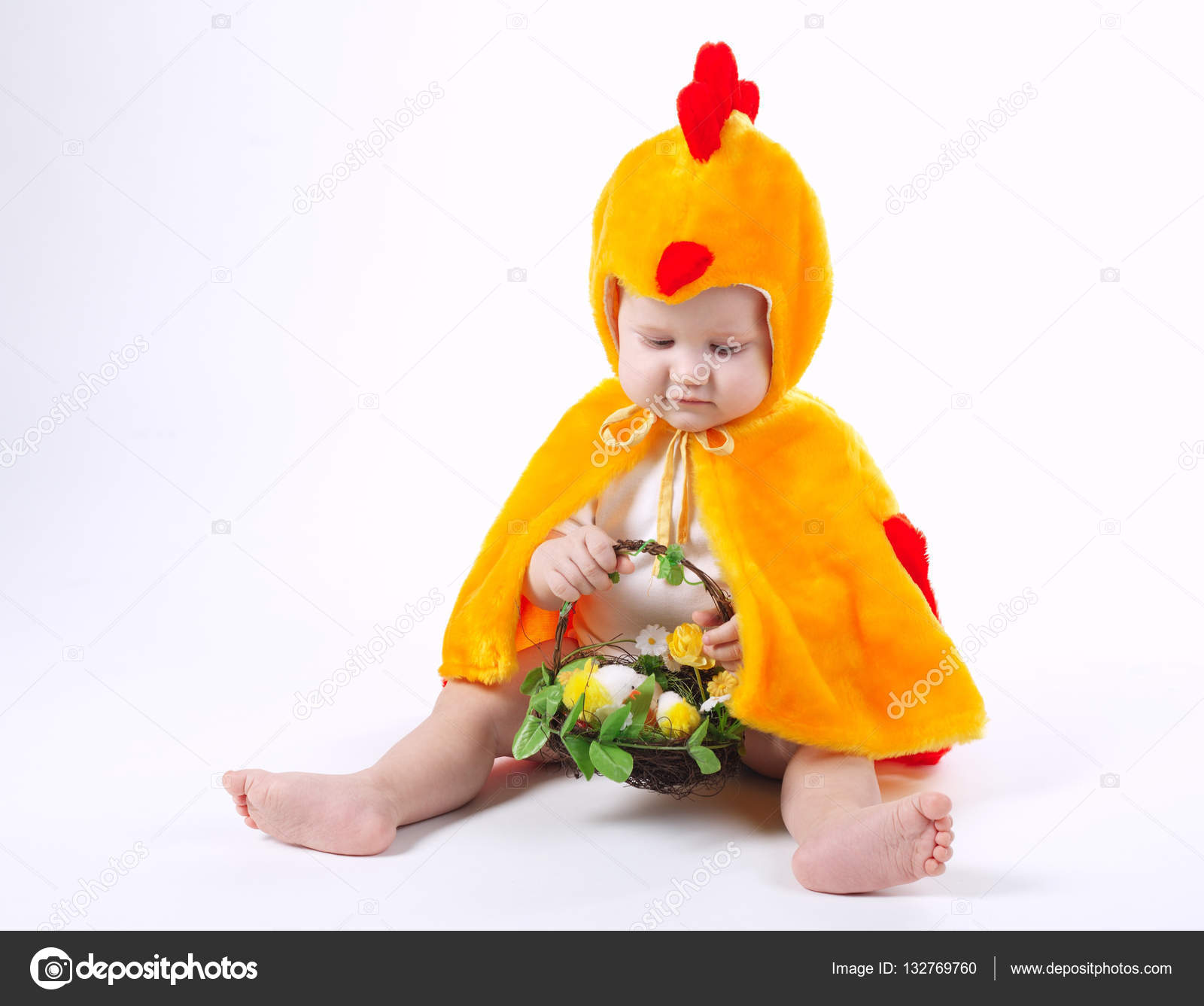 Little funny boy in chicken costume u2014 Stock Photo  sc 1 st  Depositphotos : little chicken costume  - Germanpascual.Com