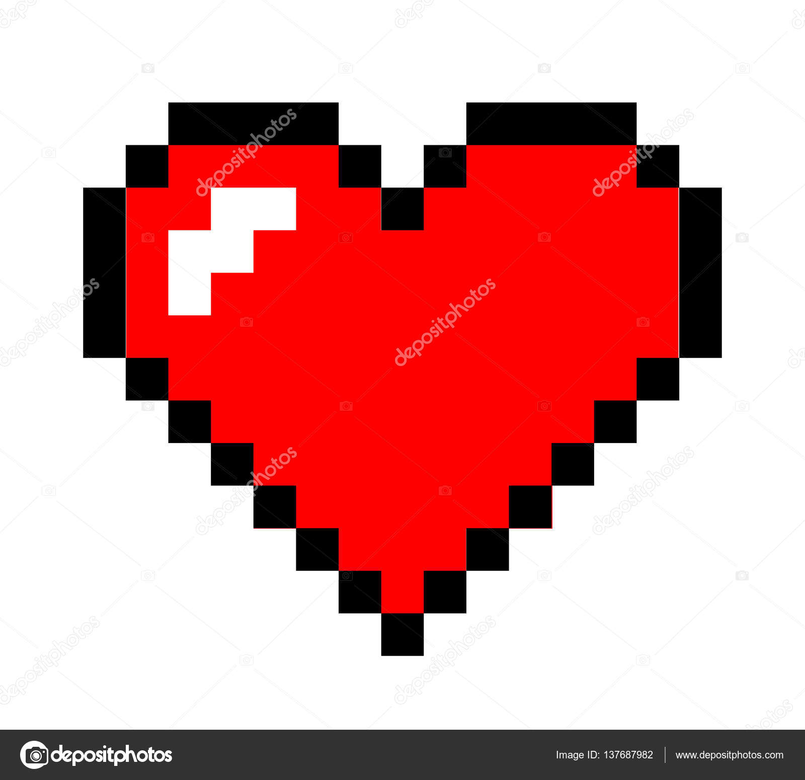 Pixel Art Heart Stock Vector Yellowpixel 137687982