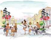 Series of the street cafes with people.