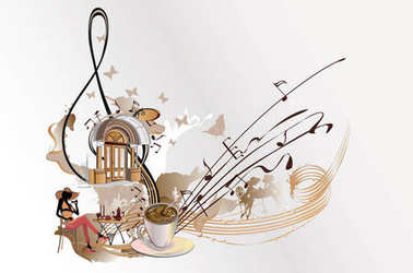 Coffee music. Abstract treble clef decorated with notes.
