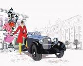 Modemädchen mit Hut und Mantel shoppen in den Straßen der Altstadt. Retro-Auto. Hand gezeichneter Vektor architektonischer Hintergrund mit historischen Gebäuden.