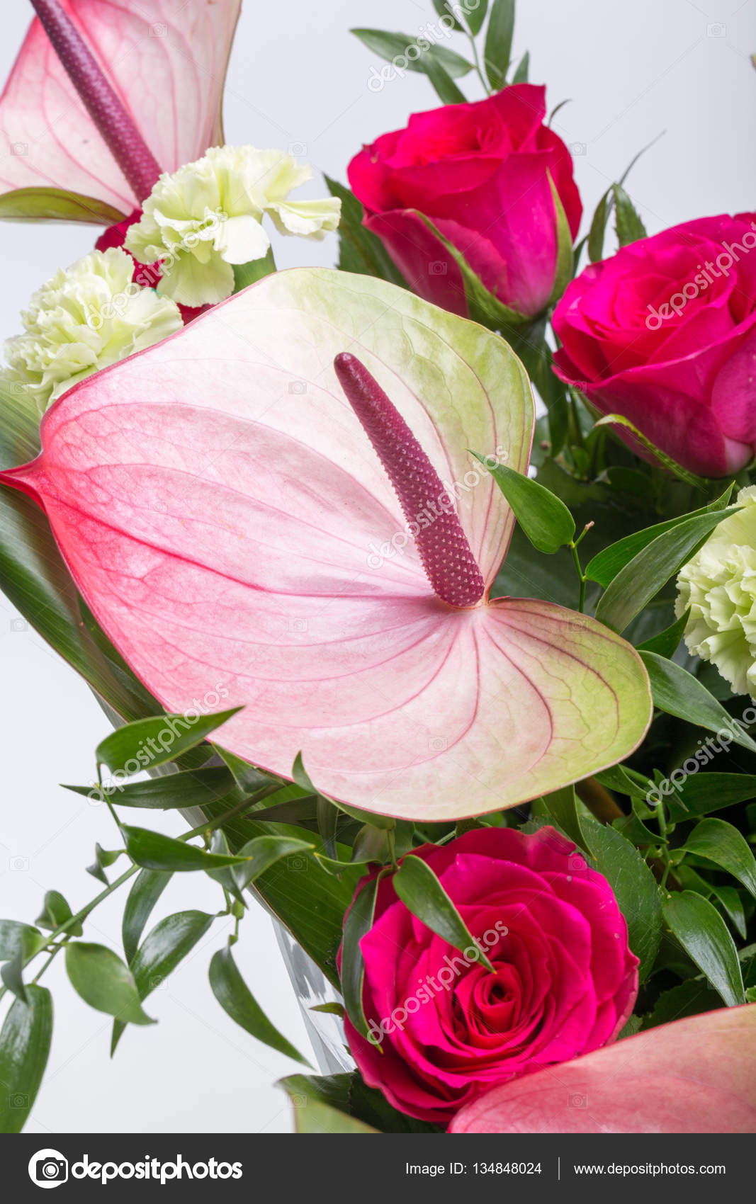 Beautiful Bouquet From Fresh Red Roses And Anthurium Stock Photo