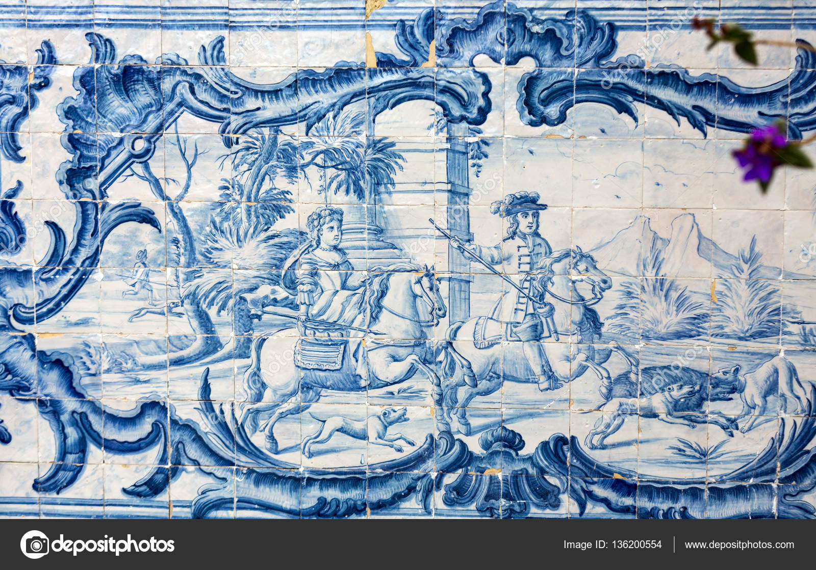 Traditional ceramic tiles in Madeira depicting local life. Portugal ...