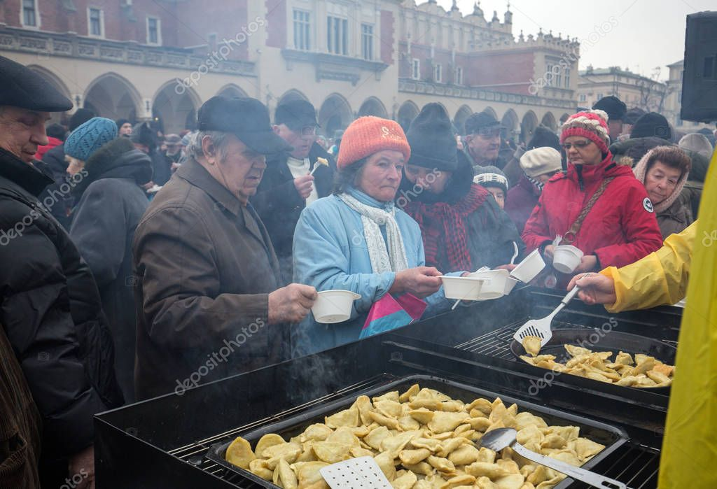 Christmas Eve for poor and homeless on the Central Market in Cracow. Every year the group Kosciuszko prepares the greatest eve in the open air in Poland