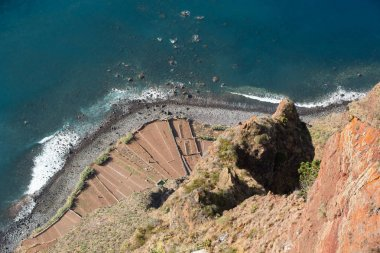 The cliff face of Cabo Girao as seen straight down from viewpoint. Madeira