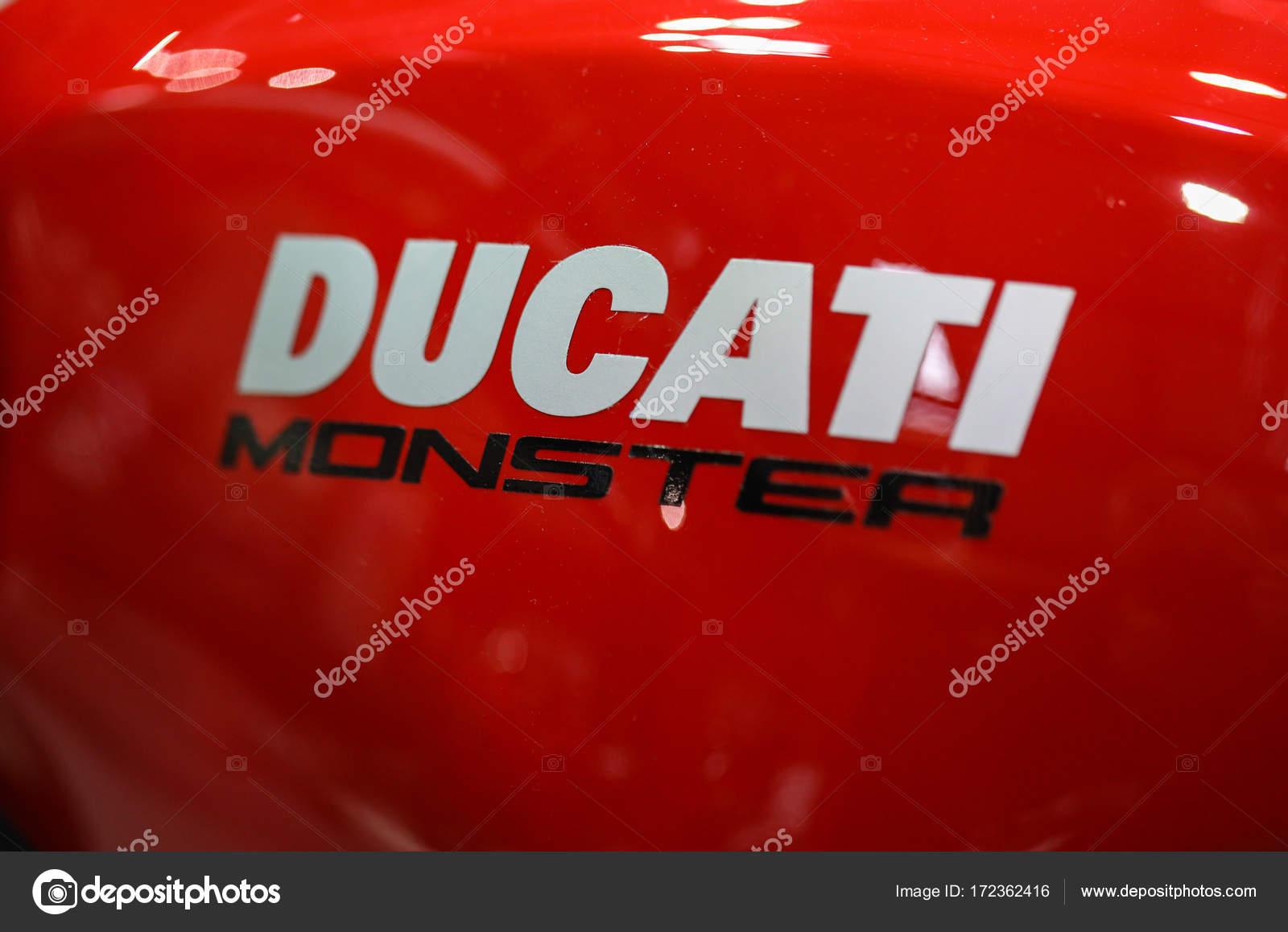 Ducati Logo Closeup On Ducati Motorcycle Displayed At Moto Show In