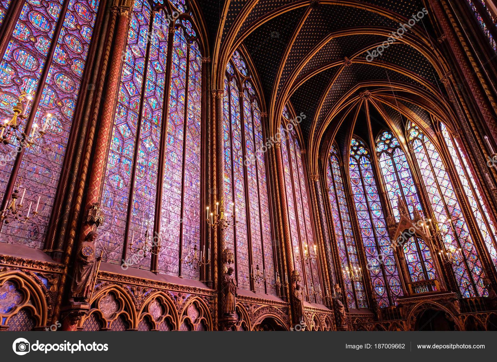 Paris France November 2017 Interiors Sainte Chapelle Holy Chapel Stock Photo