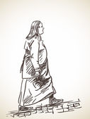 Photo Sketch of woman walking on stone pavement
