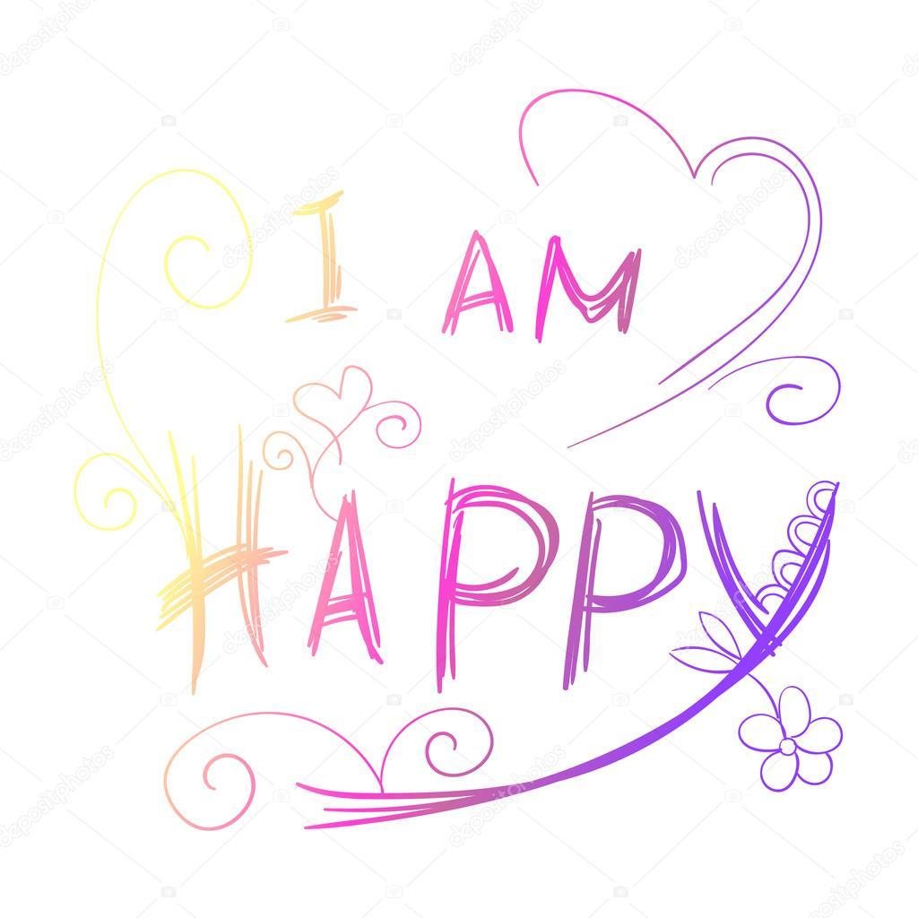 i am happy rainbow lettering stock vector olgatropinina 127245722