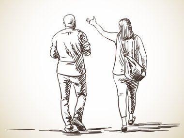 Sketch of walking couple