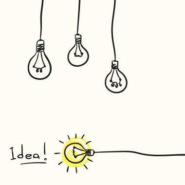 hand drawn light bulbs with text