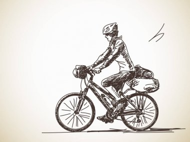 Sketch of Woman travel on bicycle