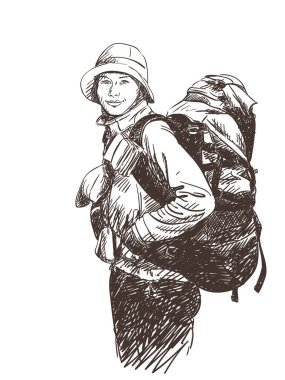 young happy woman backpacker