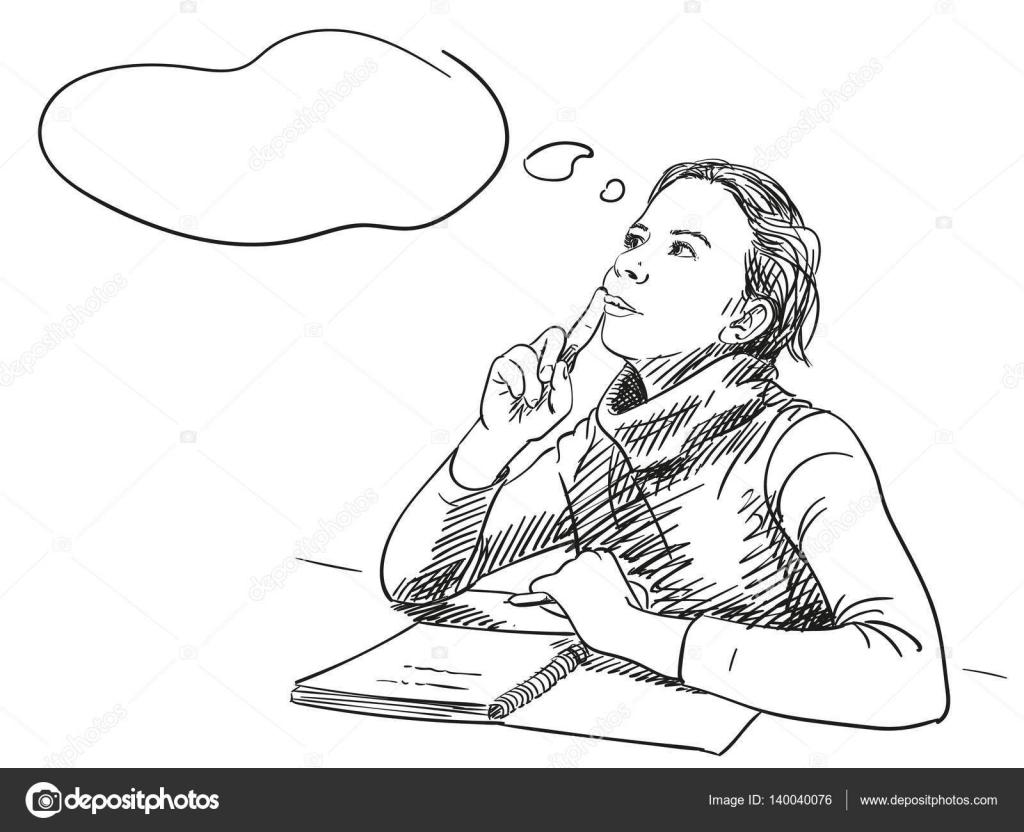 Imágenes Niña Pensando Para Colorear Chica Pensando Con Notebook