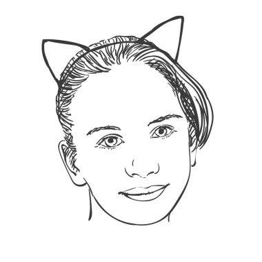Young girl wearing Cat Ears