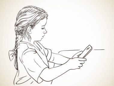 Girl focused on using tablet