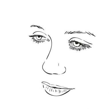 Face of girl, Hand drawn