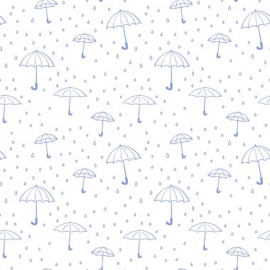 Seamless pattern of umbrellas and raindrops