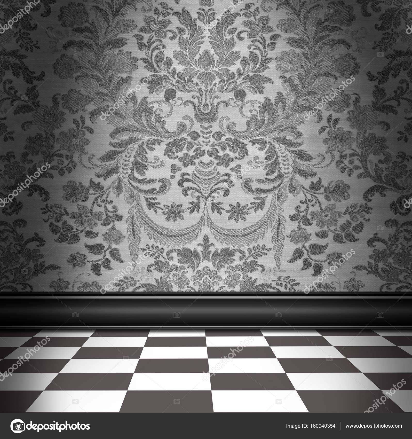 Gray damask wallpaper with gray white checkerboard tile floor gray damask wallpaper with gray white checkerboard tile floor stock photo dailygadgetfo Gallery