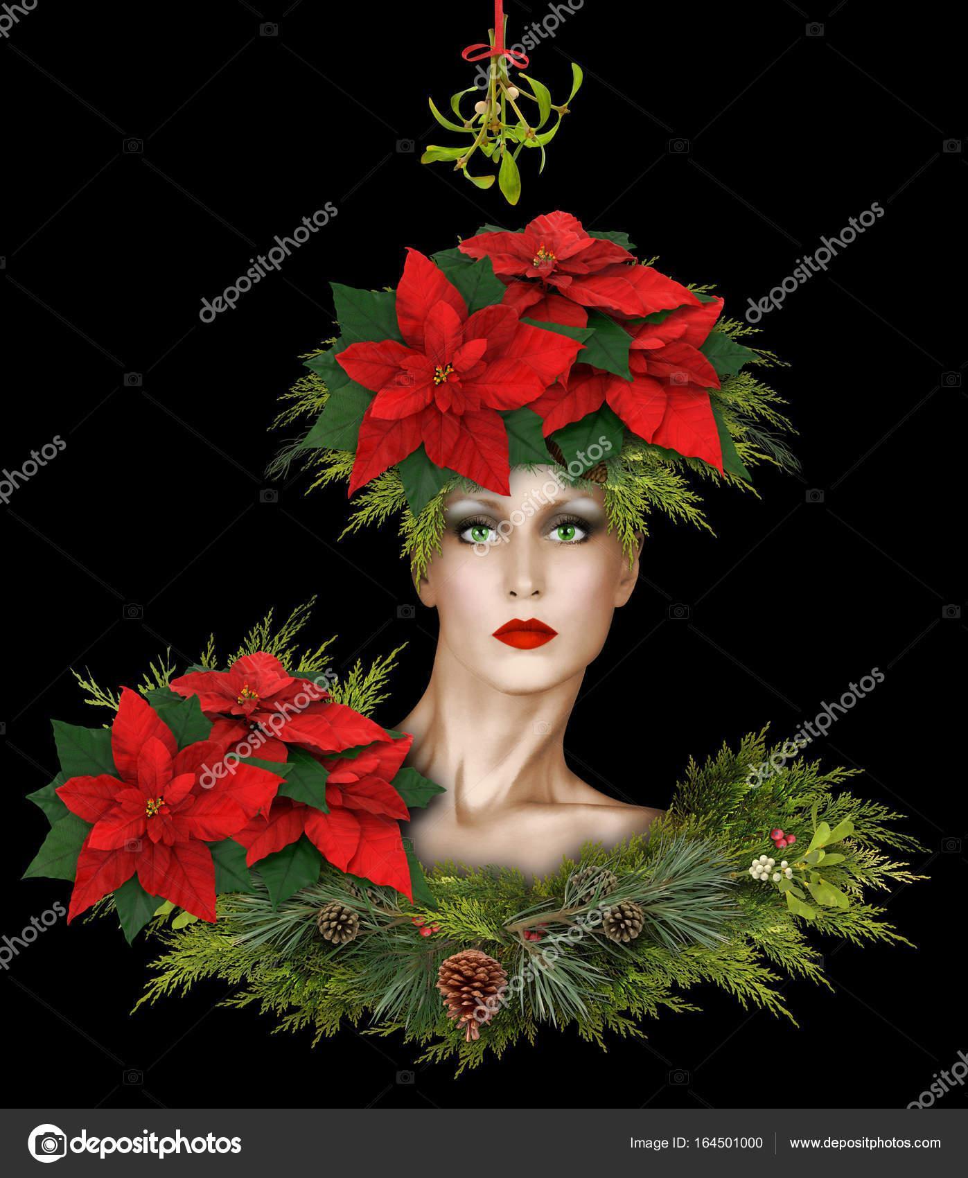 Weihnachten Mit Fantasy.Mode Weihnachten Fantasy Mit Mistel Und Weihnachtssterne Stockfoto