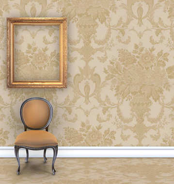 Room with tan  damask wallpaper, a velvet chair, and an empty gold picture frame with room for text stock vector