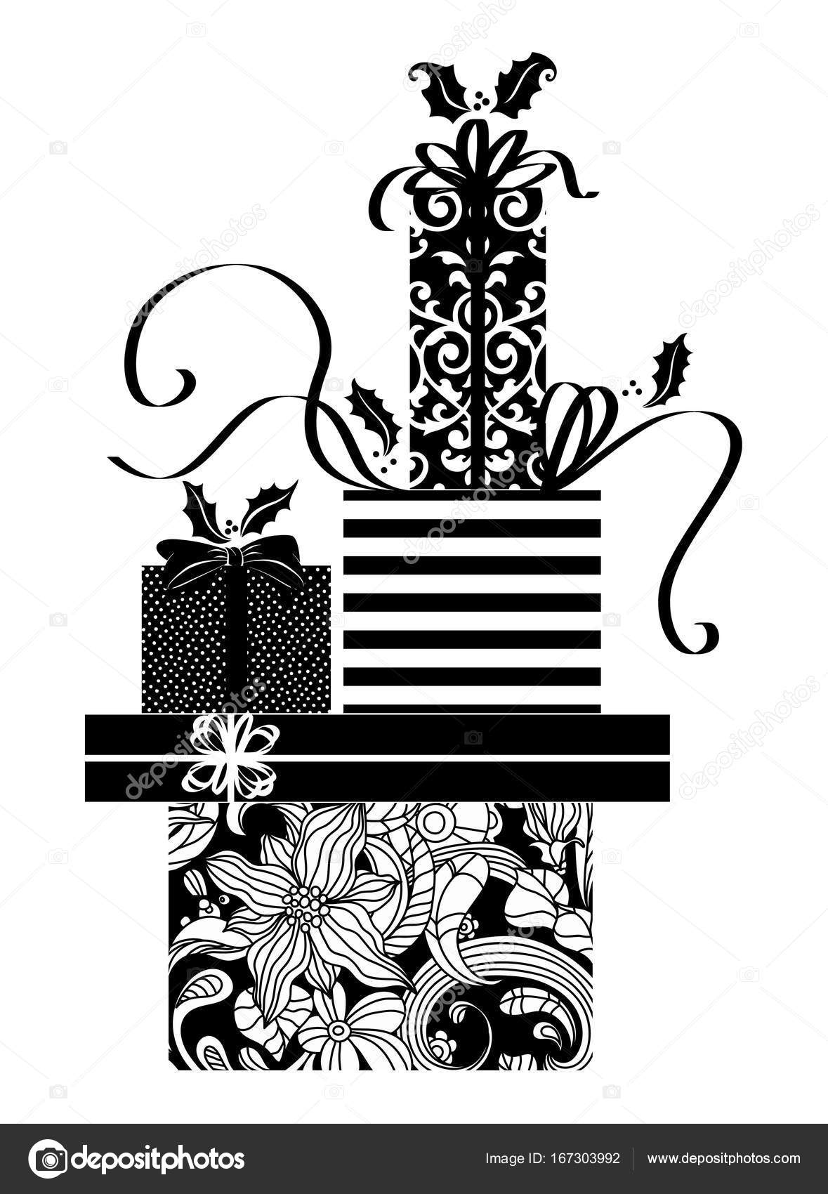 Drawings Of Christmas Presents.Stack Of Presents Drawing Black And White Drawing Of A