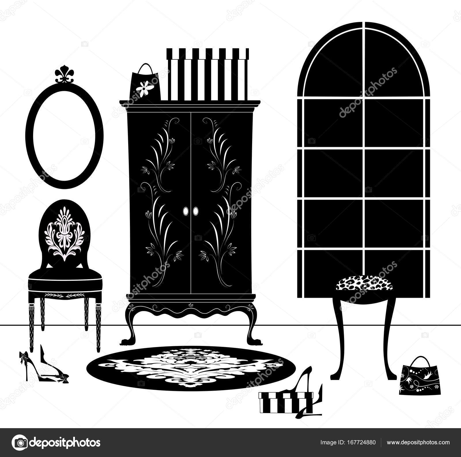 Tocador mueble blanco y negro dibujo — Foto de stock © ponytail1414 ...