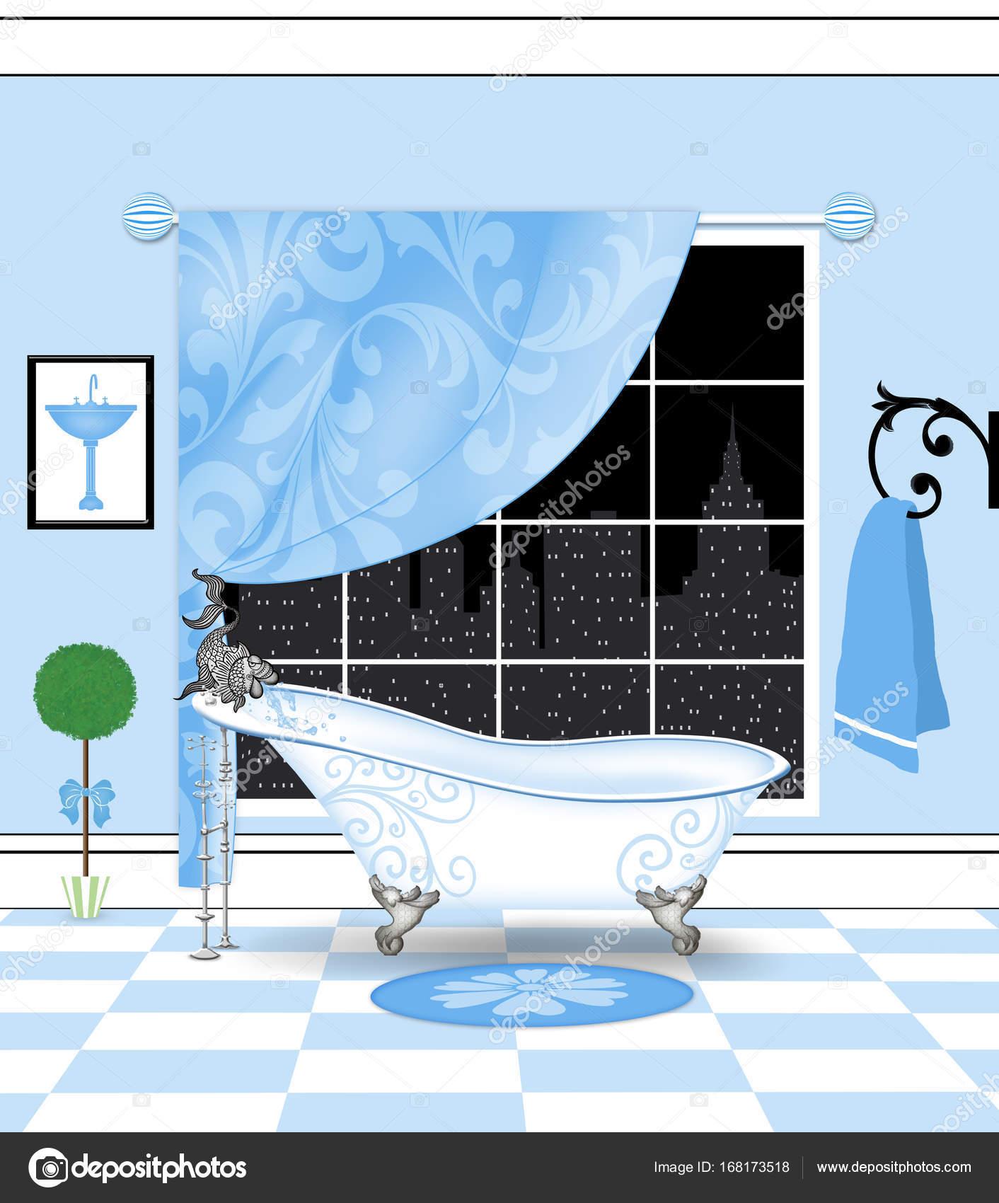 Cute Powder-Blue Bathroom With Vintage Claw Foot Bathtub — Stock ...