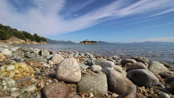 Beautiful beach with stones in Evia Island, Greece