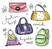 Ruční kreslení náčrtu módní tašky - vektorové ilustrace