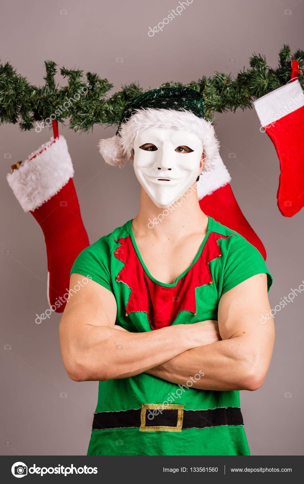 Funny Christmas Elf Stock Photo