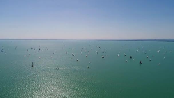 Fehér vitorlás hajók a Balatonon