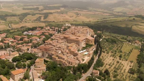 Luftbild von Pienza in der Toskana