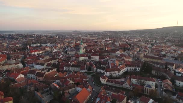 Aerial video of medieval Sopron with fire tower