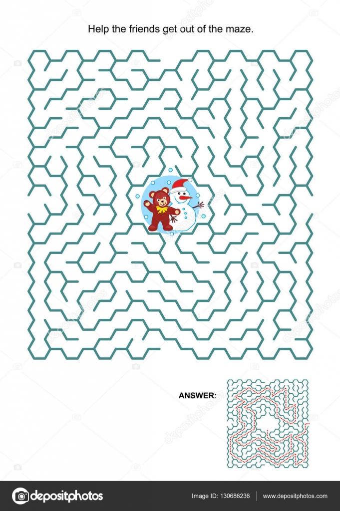 Labyrinth-Spiel mit Teddy Bär und Schneemann — Stockvektor ...