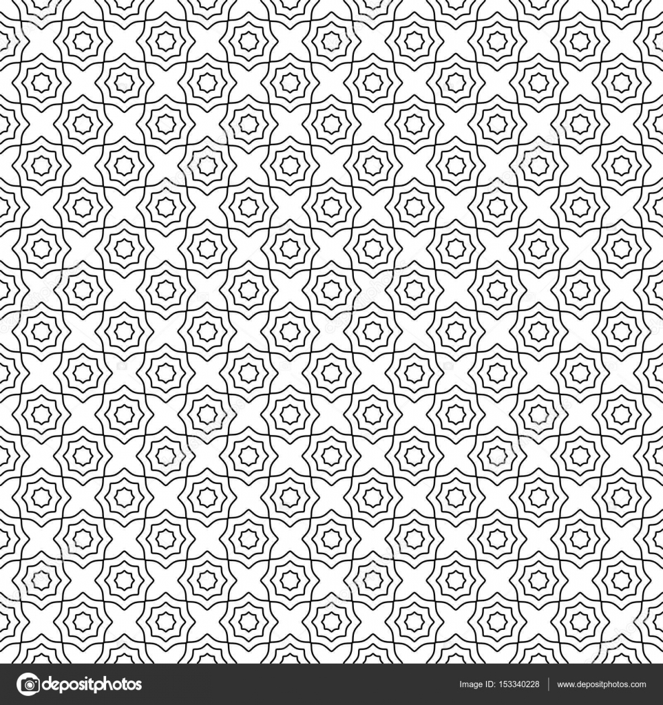 Seamless pattern black and white abstract geometric concentric