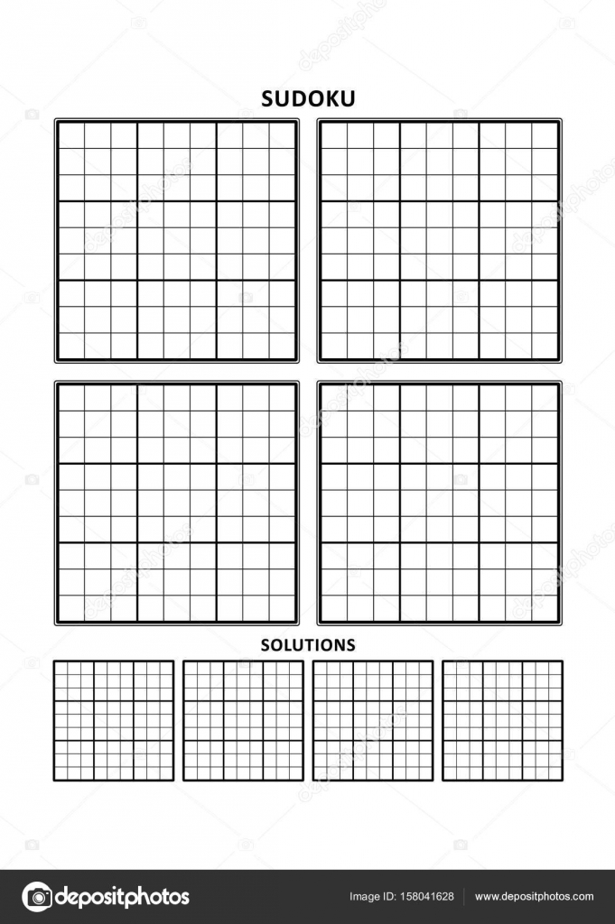 Sudoku template, four grids with solutions on A4 or Letter sized ...
