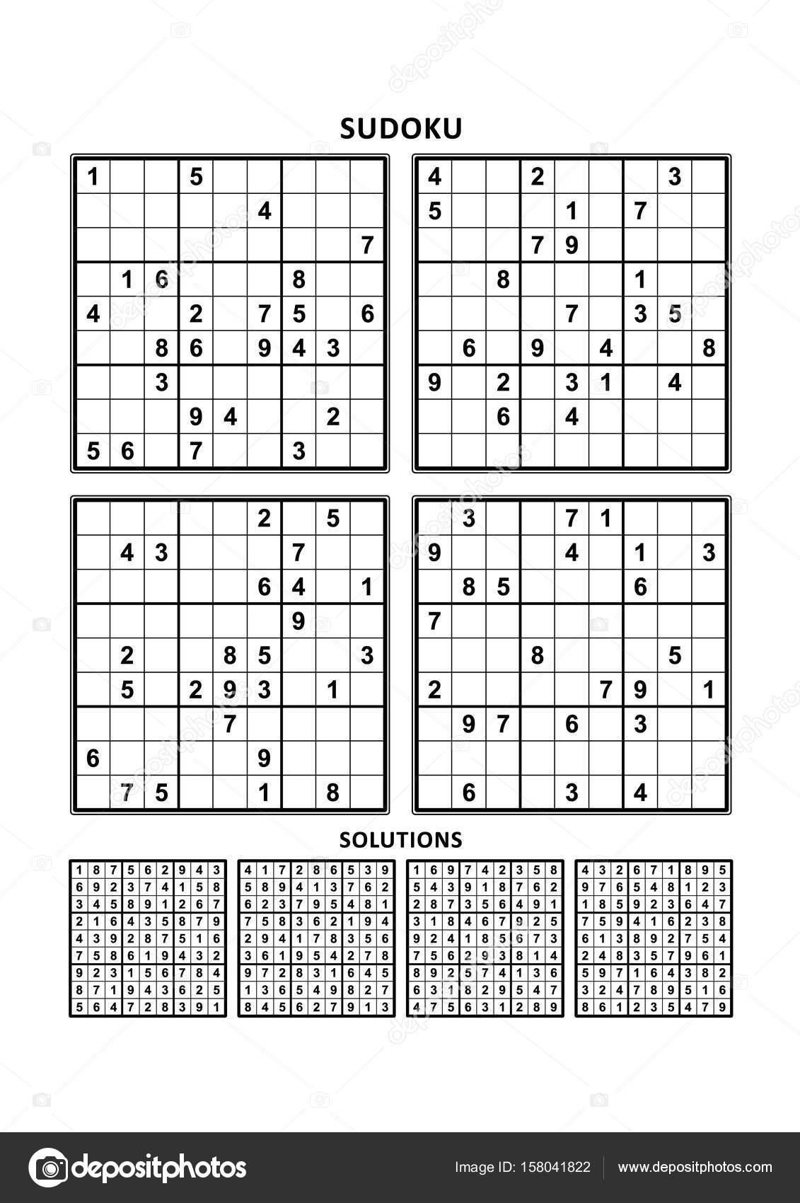 Vier Sudoku-Spiele mit Antworten — Stockvektor © ratselmeister ...