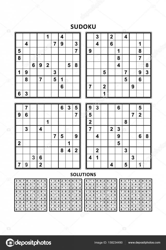 Vier Sudoku-Spiele mit Antworten. Satz 3 — Stockvektor ...