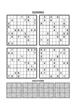 Four sudoku games with answers. Set 3.