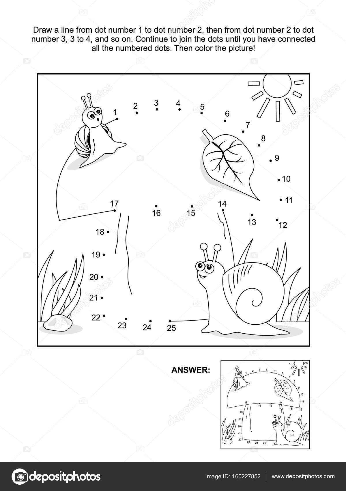 Página de punto a punto y colorear con caracoles y setas — Archivo ...