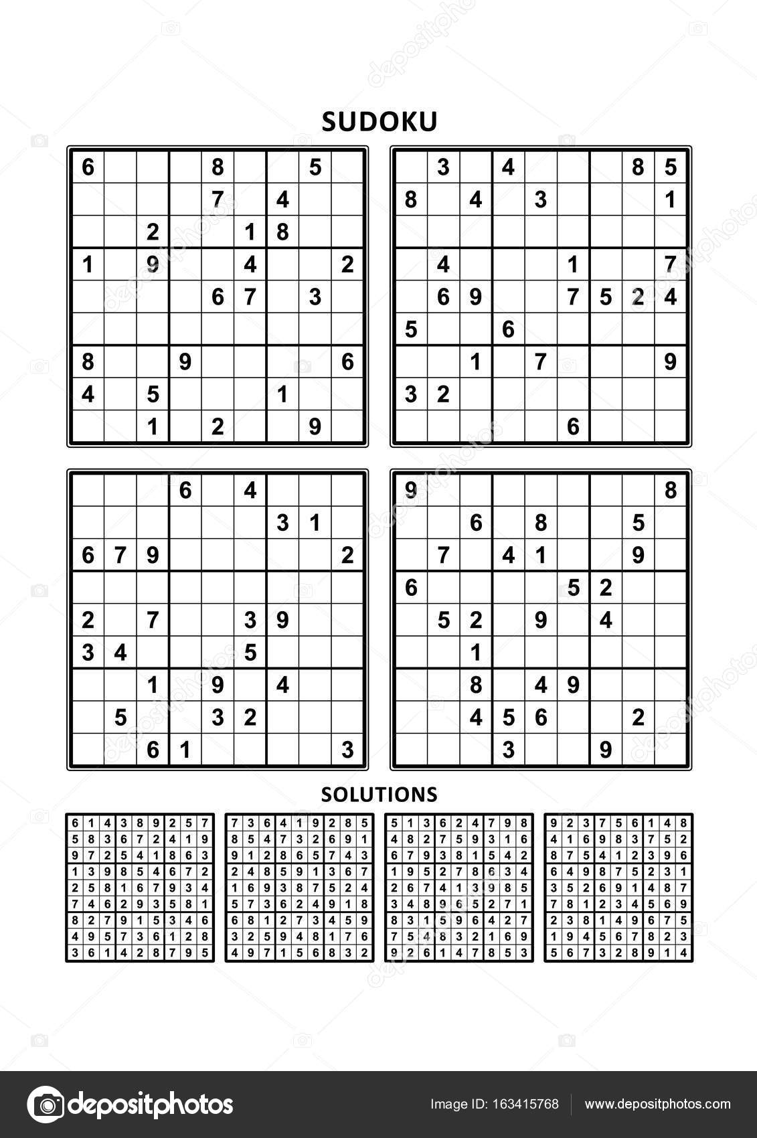 Quatre Jeux De Sudoku Avec Des Réponses Série 7 Image