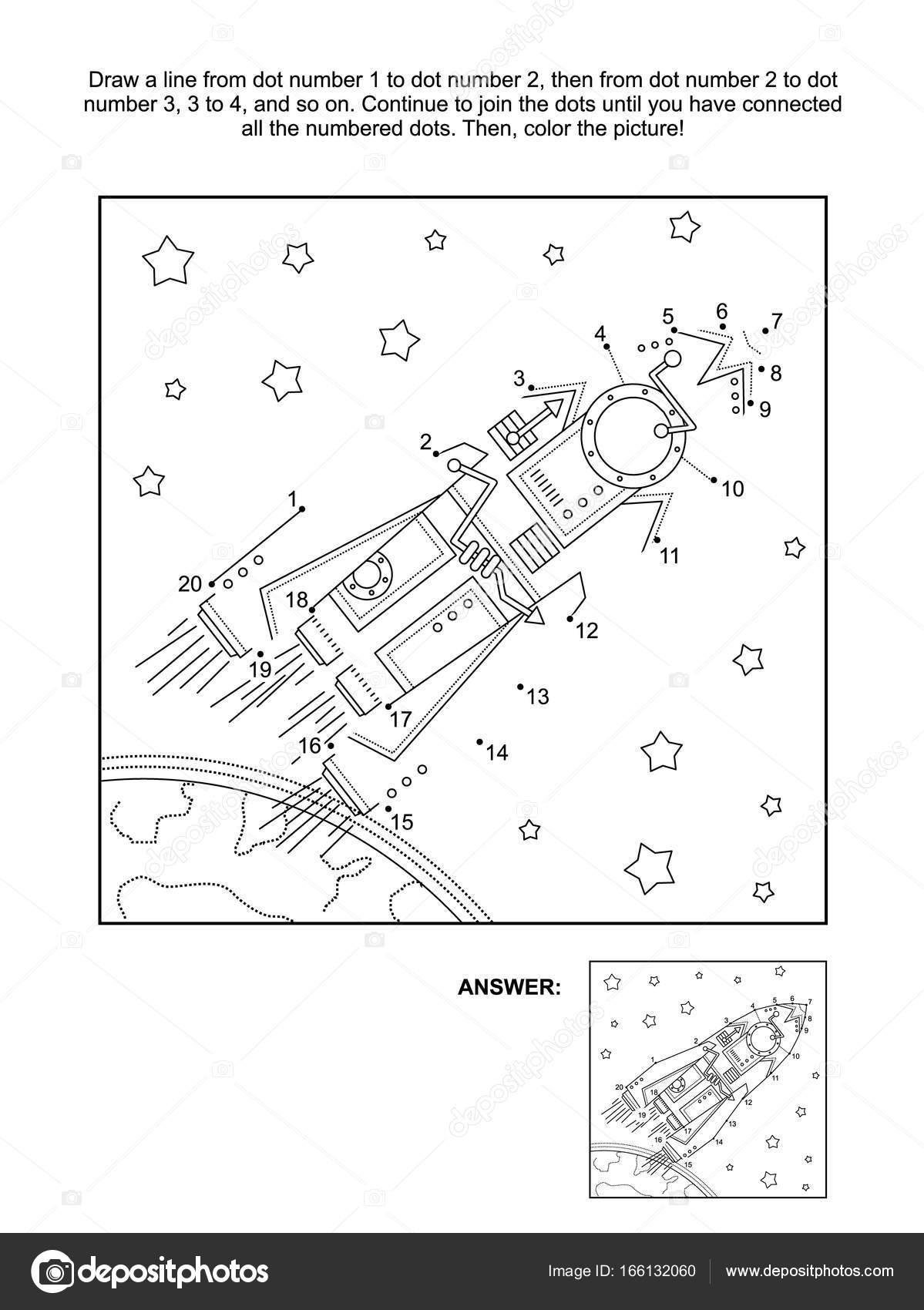 Nokta Nokta Ve Boyama Etkinliği Sayfası Roket Ya Da Uzay Gemisi