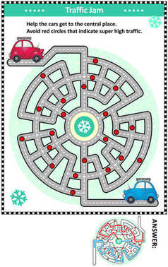 Winter traffic jam road maze with two cars