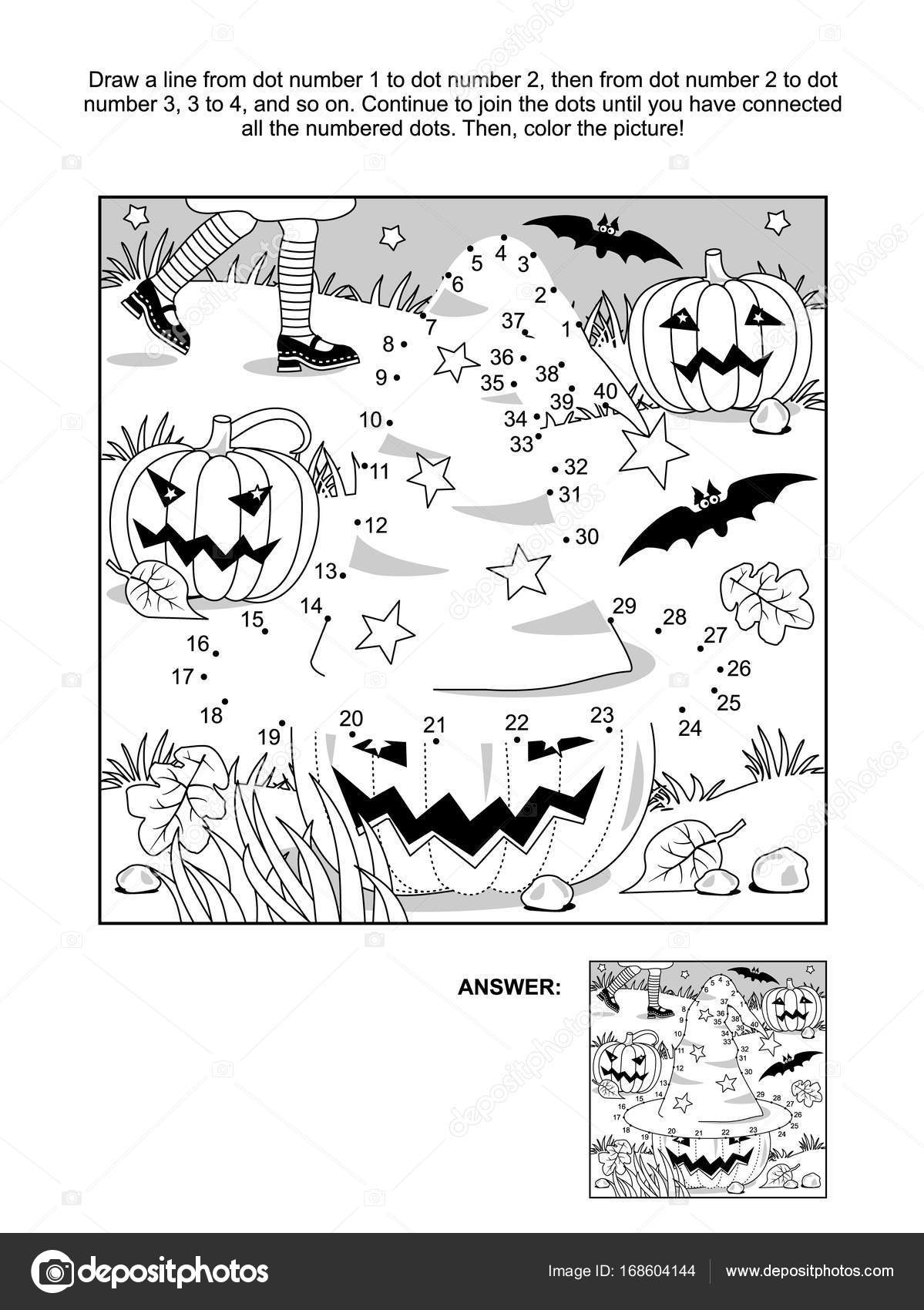 Dot To Dot And Coloring Page Halloween Witch Hat Vector Image By C Ratselmeister Vector Stock 168604144