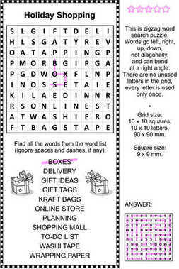 Holiday shopping wordsearch puzzle
