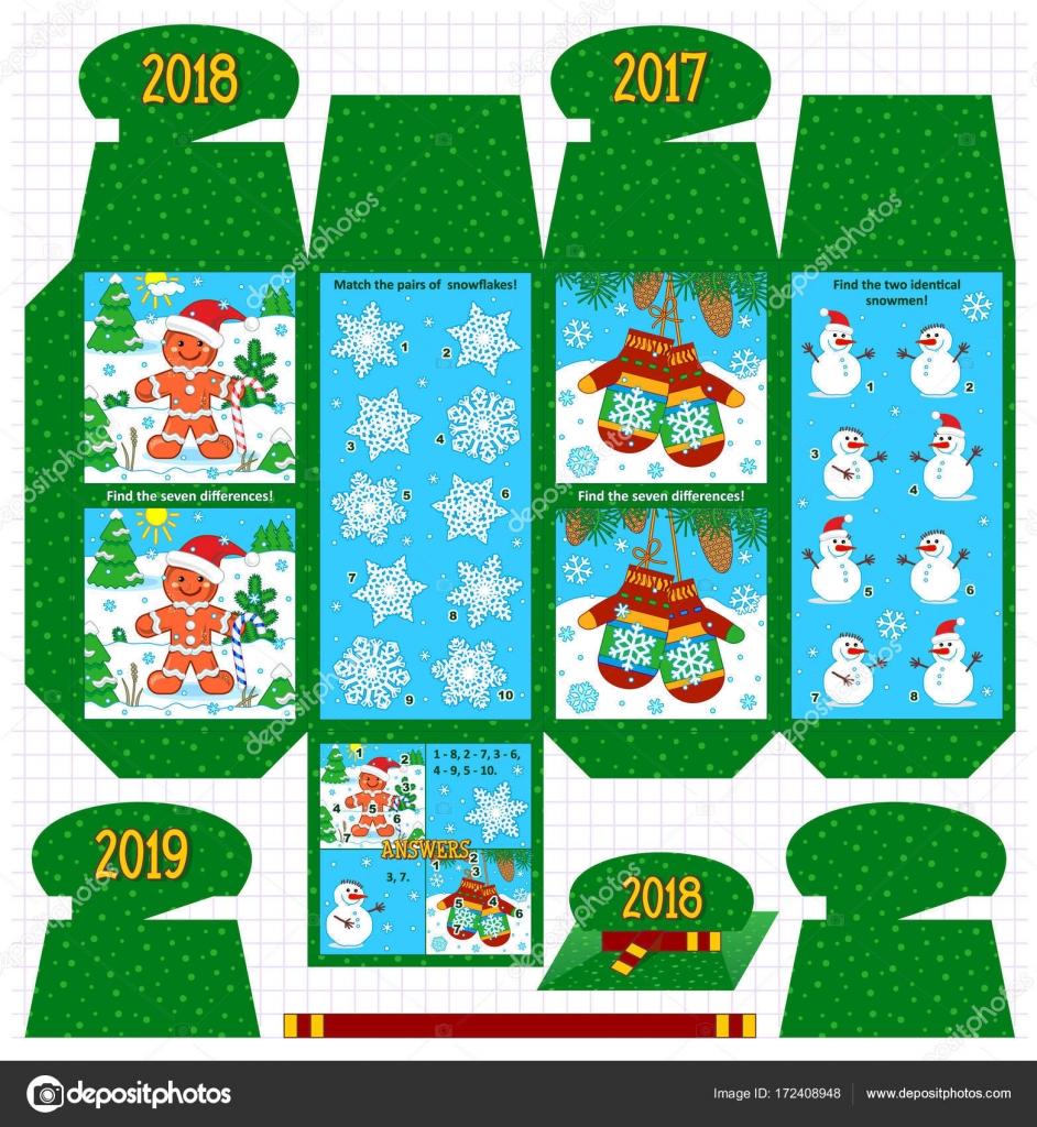 Winter Urlaub Geschenk Verpackung Vorlage mit vier Themen visuelle ...